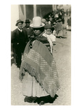 Peruvian Indian Woman Carrying Baby Reprodukcje