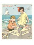 Children Building Sand Castle, Cape May, New Jersey Plakat