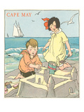 Children Building Sand Castle, Cape May, New Jersey Poster