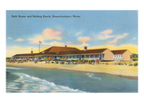 Beach and Bath House, Kennebunkport, Maine Posters