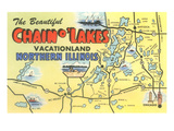 Map of Chain O'Lakes, Illinois Posters