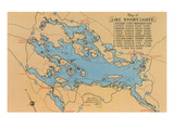 Map of Lake Winnipesaukee, New Hampshire Posters
