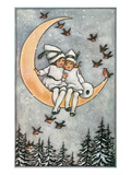 Winter, Children on Moon Stampe