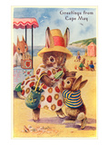 Greetings from Cape May, New Jersey, Bunnies on Beach Prints