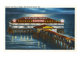 Pier at Night, Old Orchard Beach, Maine Prints