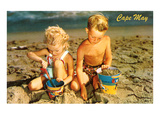 Children Playing in Sand, Cape May, New Jersey Art