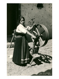 Mexican Girl with Spinning Wheel Posters