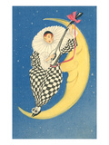 Pierrot Playing Mandolin on Moon Prints
