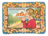 Art Deco Woman with Oranges, South Pasadena, California Prints