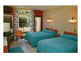 Motel Room with Blue Bedspreads Prints