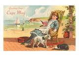 Greetings from Cape May, New Jersey, Girl on Porch Prints