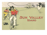 Bicycle Roping, Sun Valley, Idaho Print