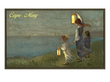 Children Holding Lanterns, Cape May, New Jersey Prints