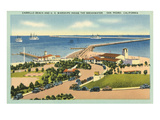 Cabrillo Beach and US Warships Inside the Breakwater, San Pedro, California Posters