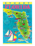 Stuart, Florida, Map with Attractions Poster