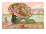 Greetings from Cape May, New Jersey, Mermaid with Cherub Posters