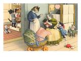 Cats in Domestic Porch Scene Posters