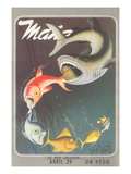 Mexican Travel Poster, Big Fish Kunstdruck