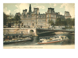 Boats on the Seine, Pont d'Arcole Posters