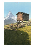 Hut Near the Matterhorn, Swiss Alps Poster