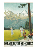 Golfing in the Swiss Alps Affiches