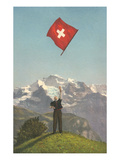 Swiss Flag Above Alps Posters