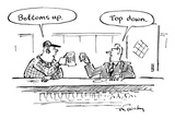 "Two men in bar toasting their drinks, one says ""Bottoms up."" one says ""Top… - New Yorker Cartoon Premium Giclee Print by Mike Twohy"