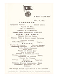 Luncheon Menu on the Titanic Prints