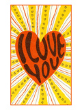 Psychedelic Love You Heart Premium Giclee Print