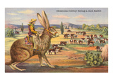 Cowboy on Giant Jack Rabbit Prints