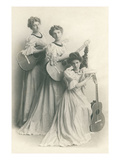 Old Fashioned Female Guitar Trio Posters