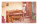 Mother and Daughter with New Piano Prints
