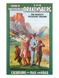 Travel Poster for the Drakenburg, South Africa Print