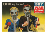 War Bonds Poster, Children in Gas Masks Print