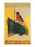 Vintage Travel Poster for Cunard Line Print