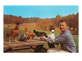 Man with Exotic Chickens Art