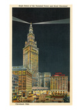 Terminal Tower, Hotel Cleveland, Night Poster
