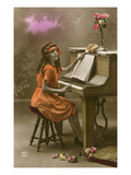 Girl Seated at Piano Posters