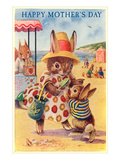 Happy Mother's Day, Mama Rabbit at Beach Prints