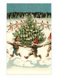 Elves Dancing around Christmas Tree Posters