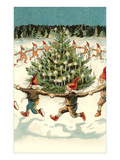 Elves Dancing around Christmas Tree Posters