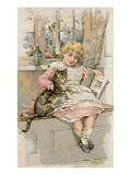 Old Fashioned Girl with Cat Poster
