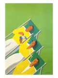 People Smoking in Deck Chairs Prints