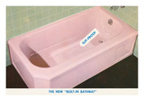 Pink Bathtub with Built in Bathmat Prints