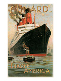 Vintage Travel Poster for Cunard Line Prints