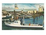 Small Navy Boat, Long Beach, California Poster