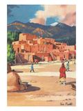 Travel Poster for Taos Pueblo Prints