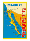 Map of Baja California, Mexico Art