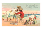 Greetings from Cape May, New Jersey, Artist on Beach Poster