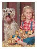 Girl, Dog and Chicks Prints